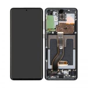 S20 LCD / Scherm met frame voor Samsung Galaxy S20 – Origineel – Service pack – Zwart / Donker Grijs