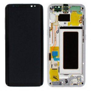 S8 LCD / Scherm met frame voor Samsung Galaxy S8 – Origineel – Service pack – Zilver