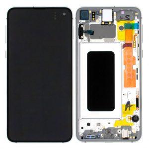 S10e LCD / Scherm met frame voor Samsung Galaxy S10E – Origineel – Service pack – Wit