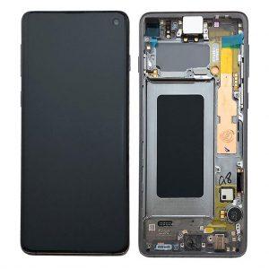 S10 LCD / Scherm met frame voor Samsung Galaxy S10 – Origineel – Service pack – Donker grijs