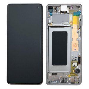 S10 LCD / Scherm met frame voor Samsung Galaxy S10 – Origineel – Service pack – Zilver