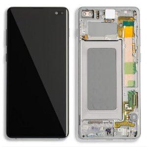 S10 Plus LCD / Scherm met frame voor Samsung Galaxy S10 Plus – Origineel – Service pack – Zilver