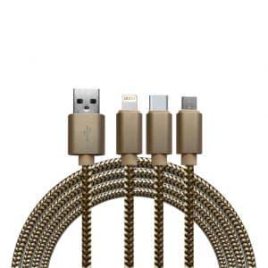 Kabels Khocell – 3 in 1 – Datakabel met 3 aansluitingen – Micro USB – Apple Lightning – USB-C – Goud