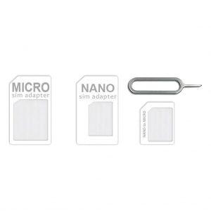 Simkaarten Khocell – Nano Sim Adapter – 3 in 1 – Wit