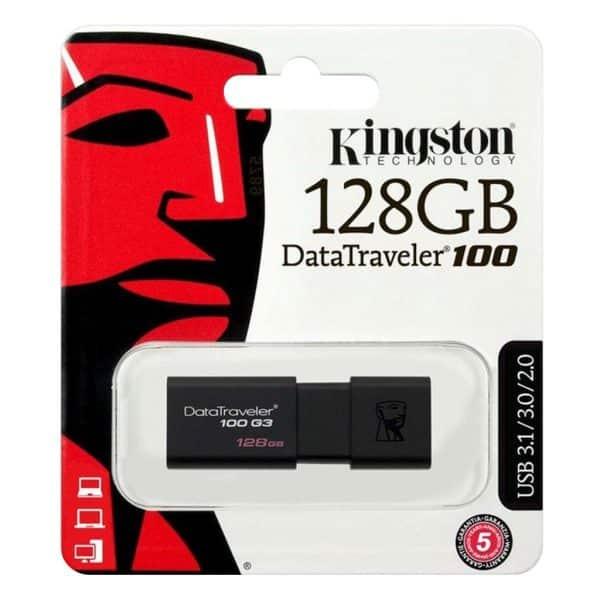 USB Sticks Kingston – USB-Stick Datatraveler 100 G3 – 128 GB – Zwart