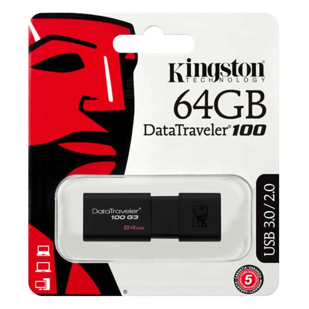 USB Sticks Kingston – USB-Stick Datatraveler 100 G3 – 64 GB – Zwart