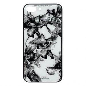 Apple hoesjes WK Design – Azure Stone Series – Hardcase – Voor iPhone 7 Plus / 8 Plus – Witte bloem – Zwart