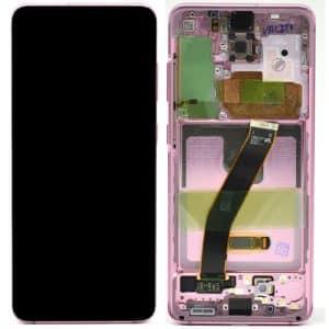 S20 LCD / Scherm met frame voor Samsung Galaxy S20 – Origineel – Service pack – Roze