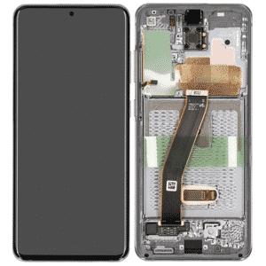 S20 LCD / Scherm met frame voor Samsung Galaxy S20 – Origineel – Service pack – Zilver / Wit