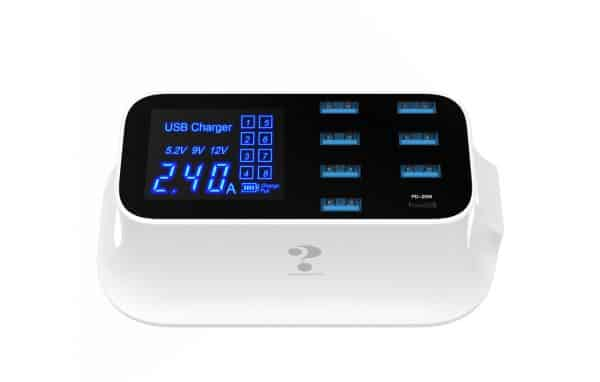 Kabels Win How Solution YC-CDA19 LCD Display 1-Port USB-C & 7-Port USB-A Charger  Fast Charging Station