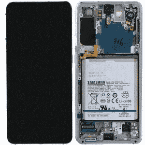 S21 LCD / Scherm met frame voor Samsung Galaxy S21 – Origineel – Service pack – Zwart